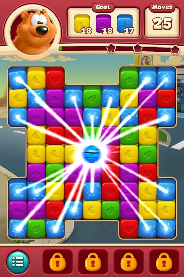 Toon Blast è un gioco di abbinamento, in cui devi abbinare blocchi dello stesso colore per svuotare il tabellone.