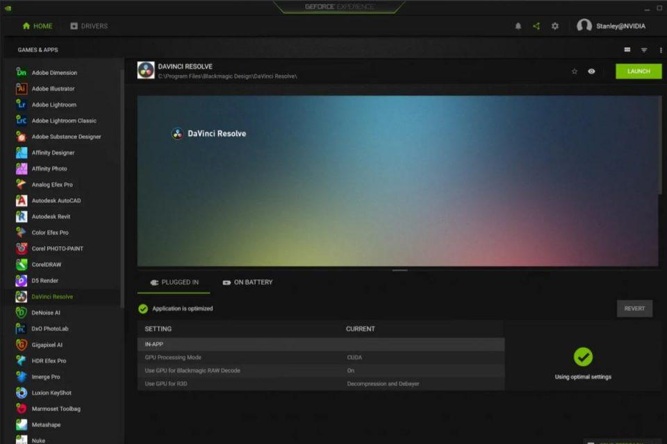 La GeForce Experience di Nvidia ora ottimizza anche le impostazioni per le app creative