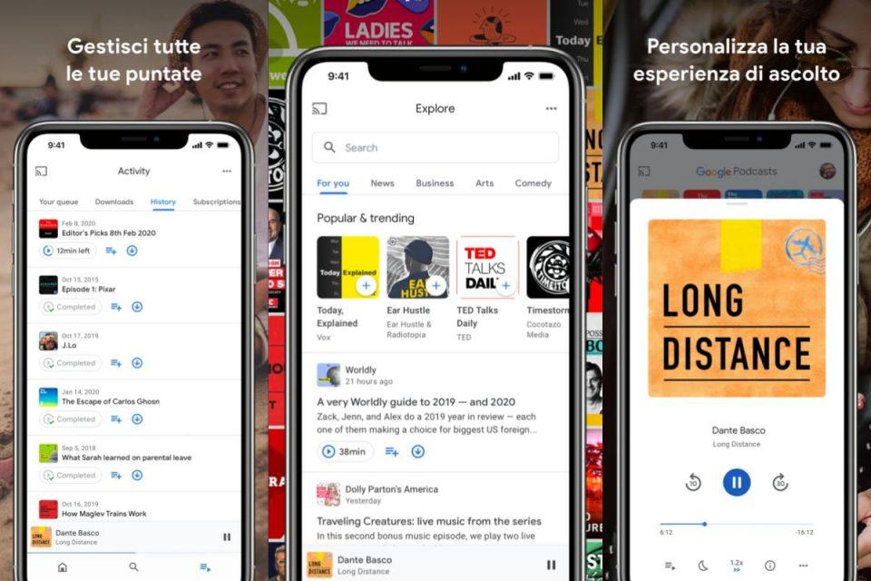 Google Podcasts viene riprogettata l'interfaccia utente su iOS e ti consente di bloccare i consigli