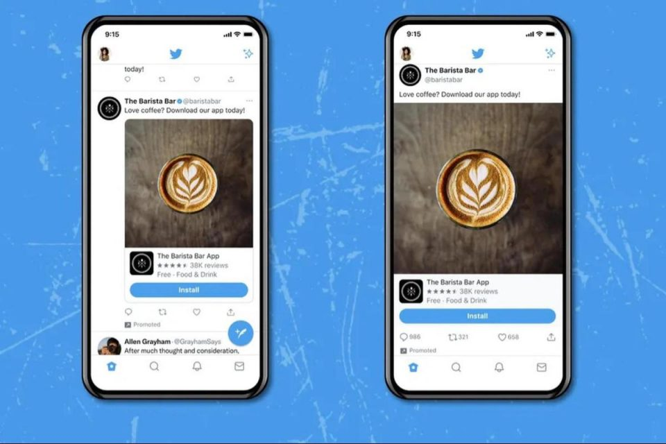 Twitter testa immagini e video a larghezza intera su iOS
