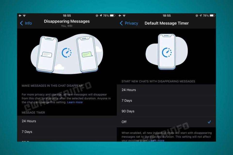 WhatsApp per iOS che prepara la funzione Messaggi che scompaiono e bolle di chat ridisegnate